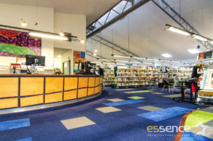 Existing Reception with new carpet designs by Essence